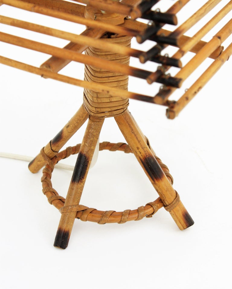 Franco Albini Style Rattan Table Lamp, Italy, 1960s For Sale 6