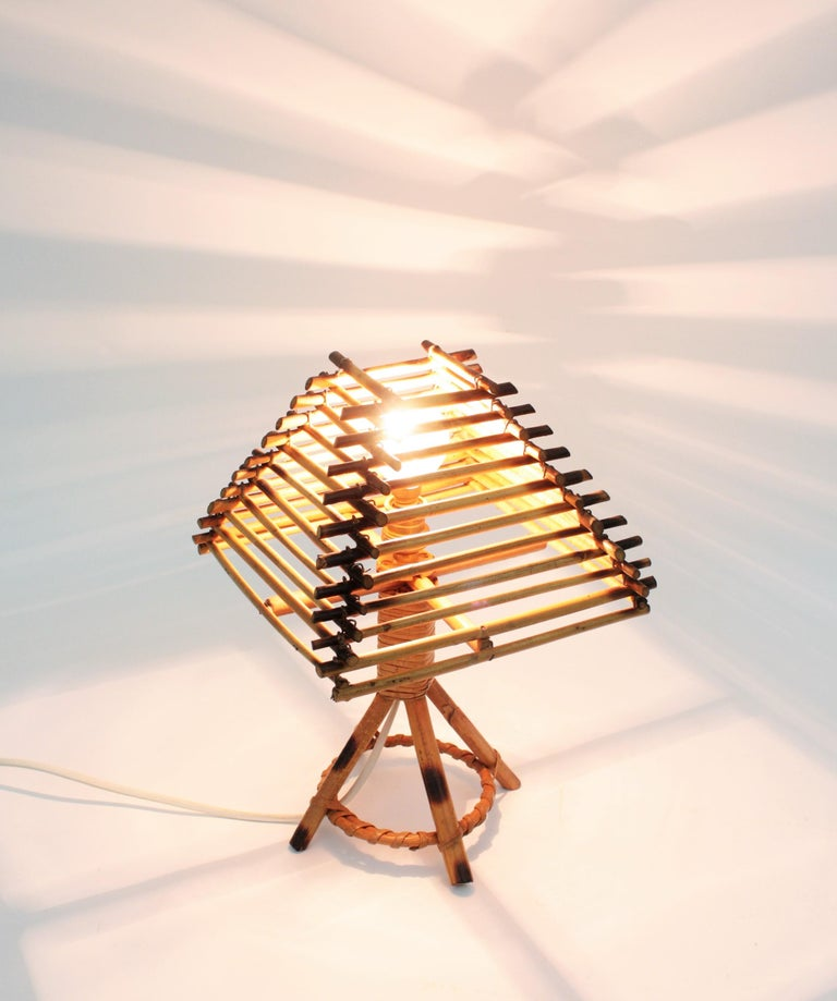 European Franco Albini Style Rattan Table Lamp, Italy, 1960s For Sale