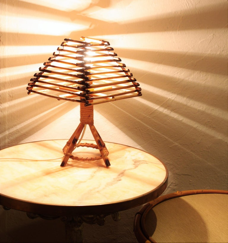 20th Century Franco Albini Style Rattan Table Lamp, Italy, 1960s For Sale