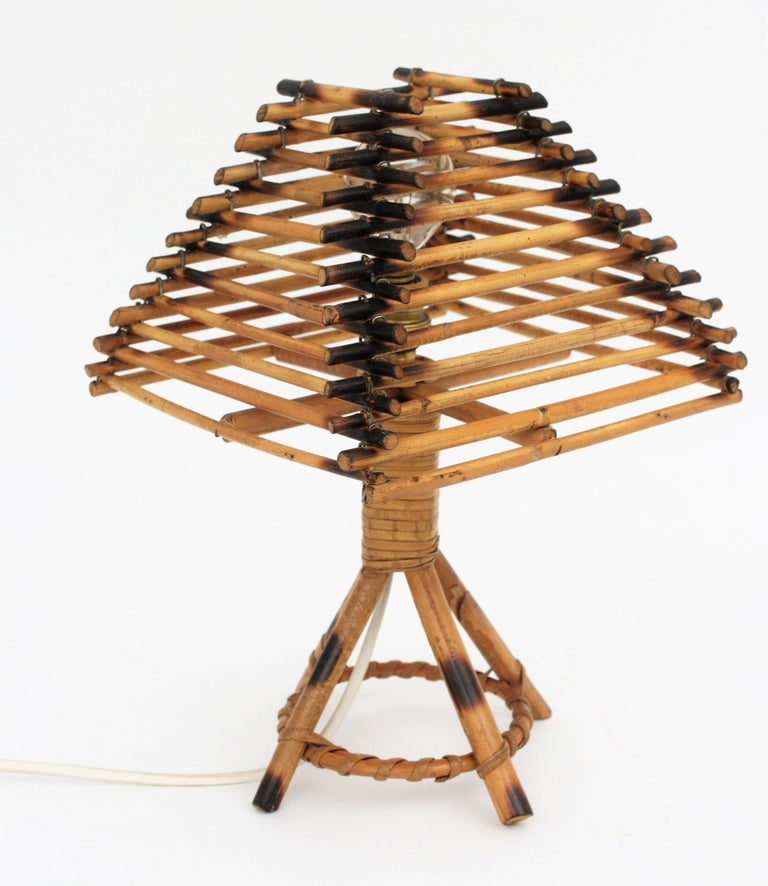Bamboo Franco Albini Style Rattan Table Lamp, Italy, 1960s For Sale