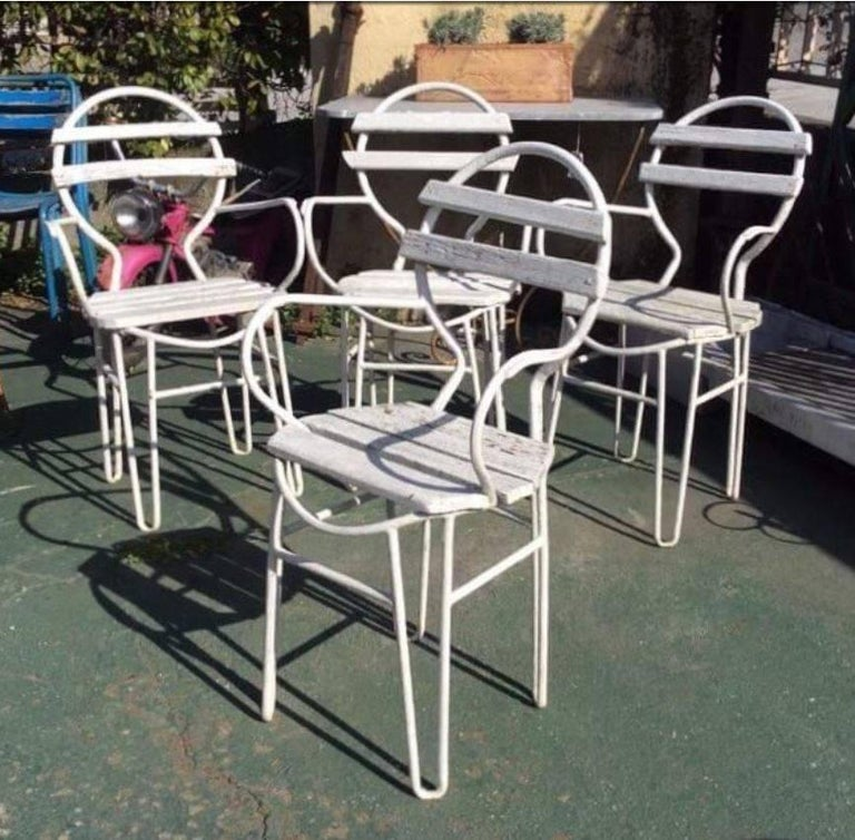 Mid Century Modern Italian Midcentury Garden Chairs In Iron And Wood From 1960s For