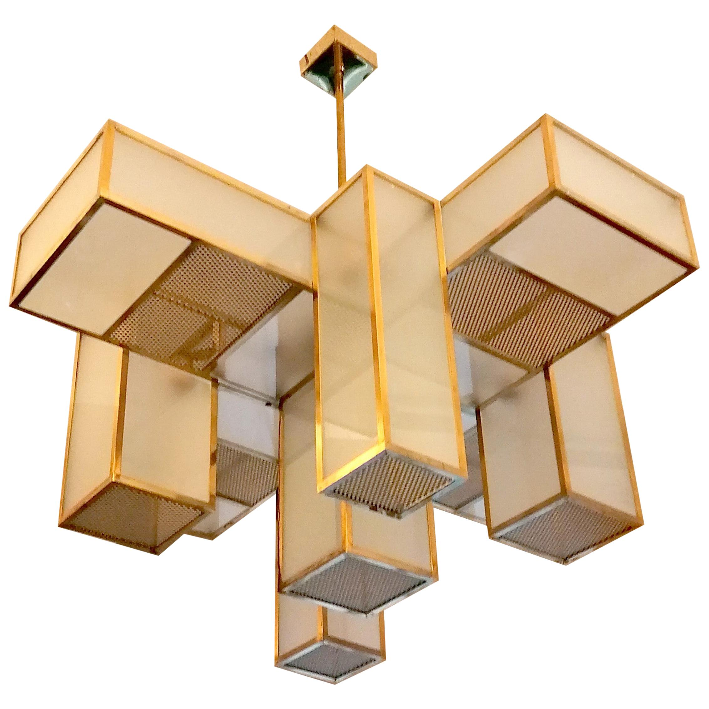 Italian Midcentury Geometric Chandelier Brass and Frosted Glass, 1980s