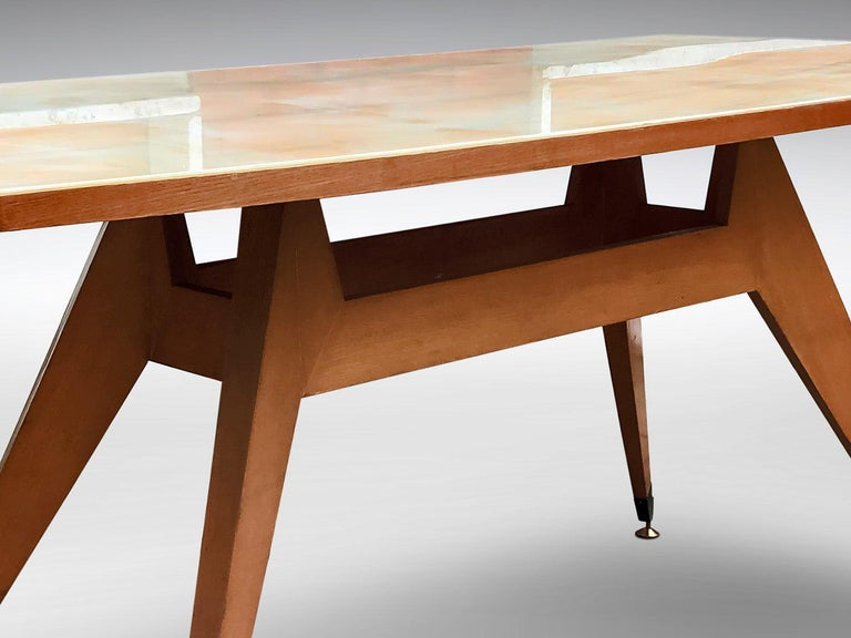 Italian Midcentury Geometric Dining Table Melchiorre Bega Style, 1950s For Sale 5