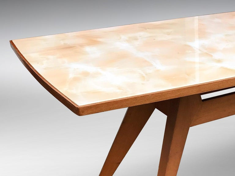 Italian Midcentury Geometric Dining Table Melchiorre Bega Style, 1950s For Sale 7