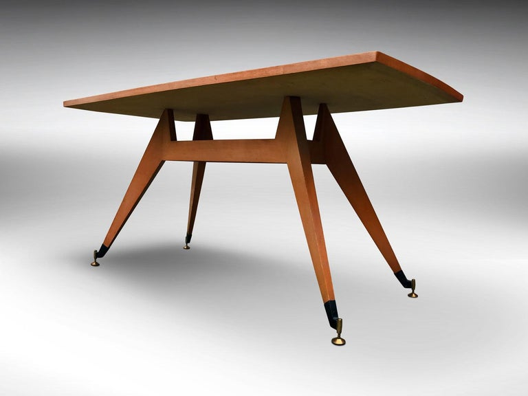 Italian Midcentury Geometric Dining Table Melchiorre Bega Style, 1950s In Good Condition For Sale In Traversetolo, IT