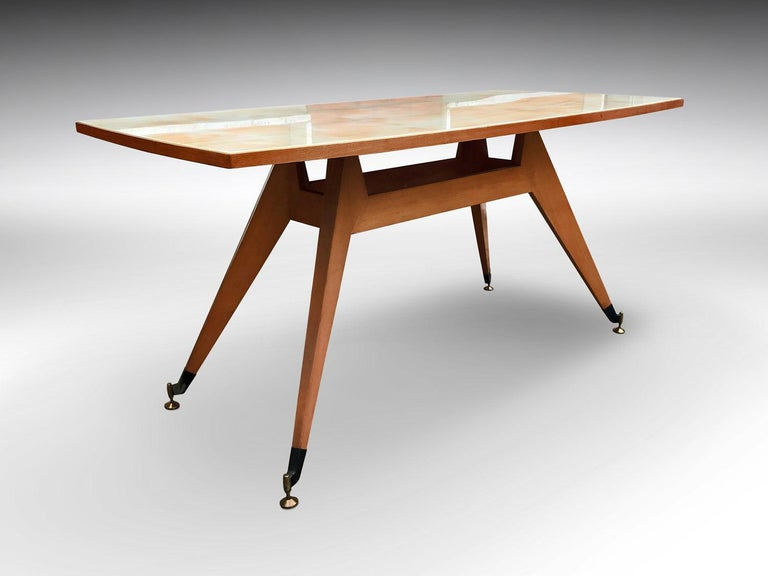 Mid-20th Century Italian Midcentury Geometric Dining Table Melchiorre Bega Style, 1950s For Sale