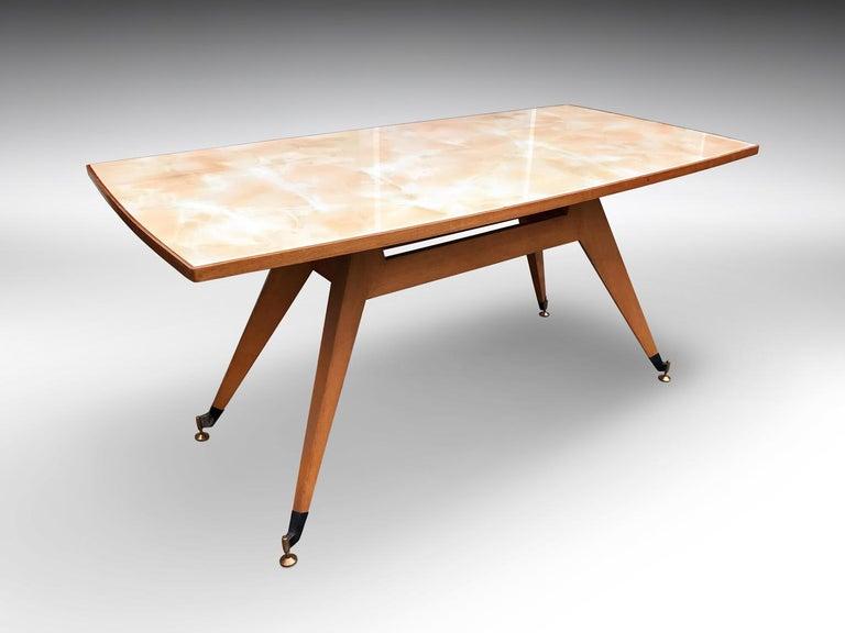 Metal Italian Midcentury Geometric Dining Table Melchiorre Bega Style, 1950s For Sale