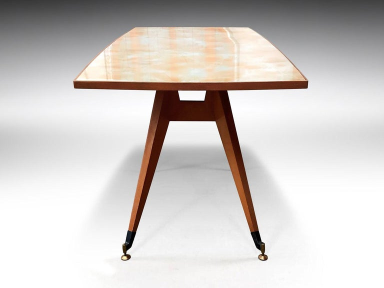 Italian Midcentury Geometric Dining Table Melchiorre Bega Style, 1950s For Sale 1