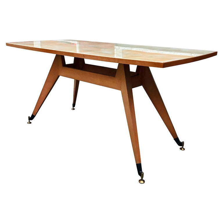 Italian Midcentury Geometric Dining Table Melchiorre Bega Style, 1950s For Sale
