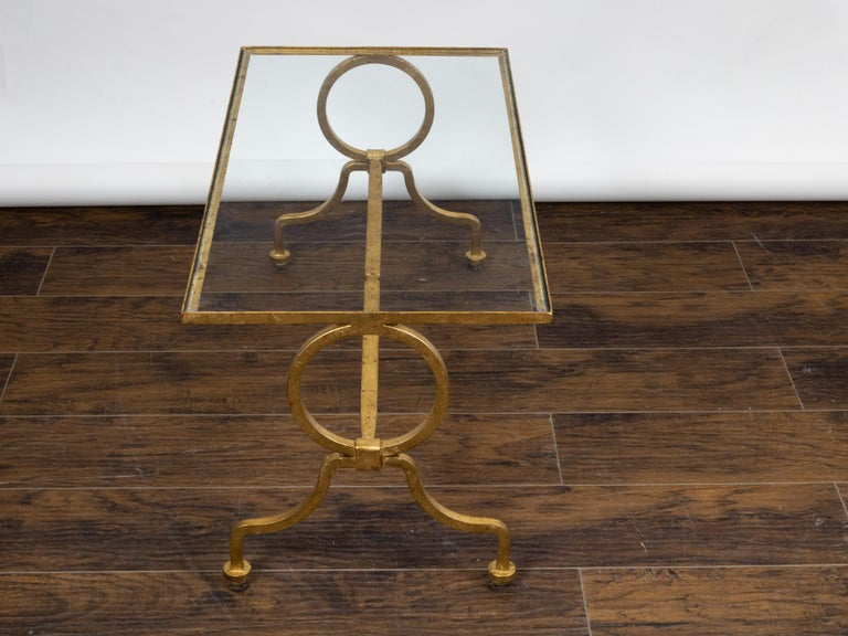 Italian Midcentury Gilt Iron Coffee Table with Glass Top and Large Rings For Sale 5