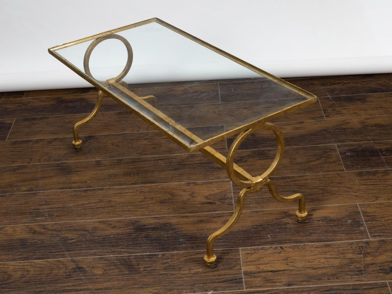 Italian Midcentury Gilt Iron Coffee Table with Glass Top and Large Rings For Sale 1