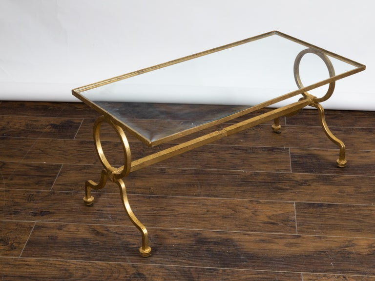 Italian Midcentury Gilt Iron Coffee Table with Glass Top and Large Rings For Sale 2