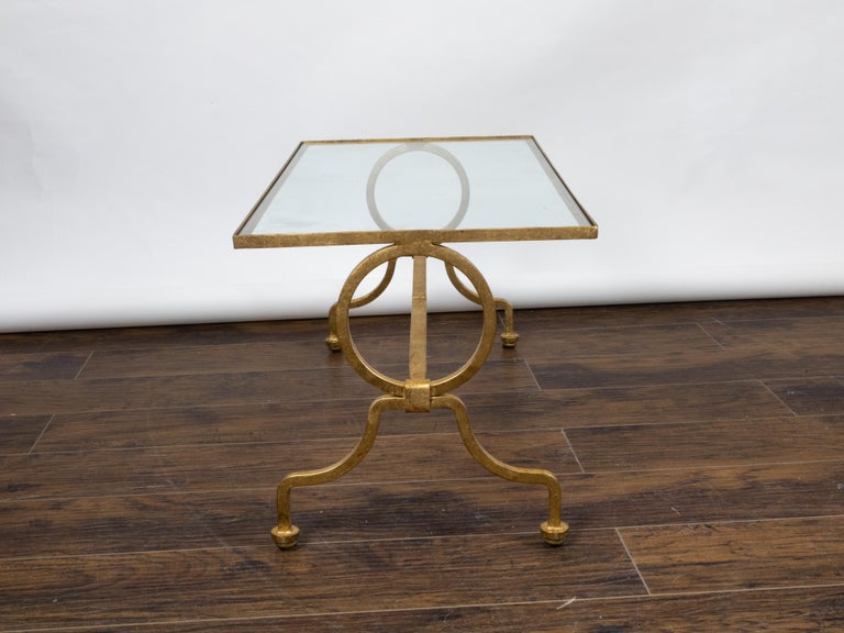 Italian Midcentury Gilt Iron Coffee Table with Glass Top and Large Rings For Sale 3