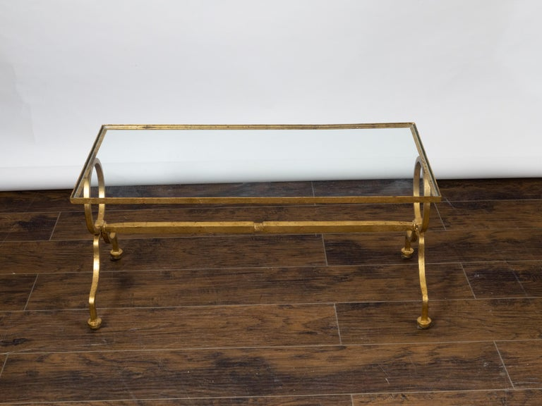 Italian Midcentury Gilt Iron Coffee Table with Glass Top and Large Rings For Sale 4