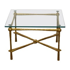 Italian Midcentury Gilt Metal Coffee Table with Glass Top and Hammered Accents