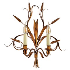 Italian Midcentury Gilt Tole Wall Sconces with Wheat Sheaf, 1950s, Set of Five