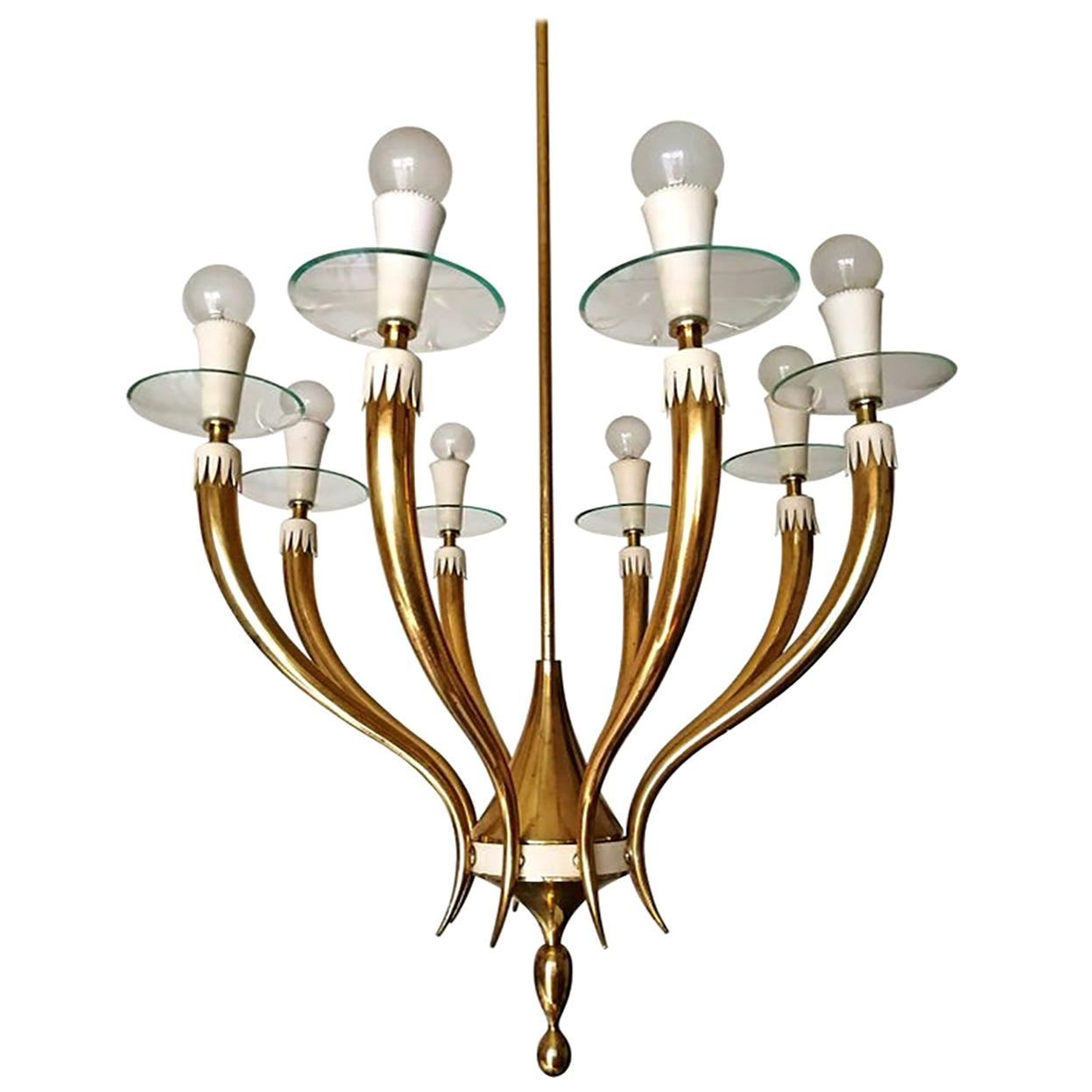 Italian Midcentury Gio Ponti for Fontana Art Glass Gilt Brass 8-Light Chandelier
