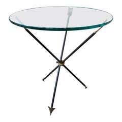 Italian Midcentury Gio Ponti Style Iron and Bronze Arrow Table