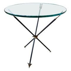 Italian Midcentury Gio Ponti Style Iron and Bronze Arrow Table