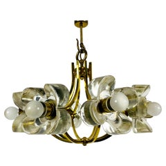 Italian Midcentury Glass and Brass 8-Arm Chandelier Mazzega Attributed, 1960s