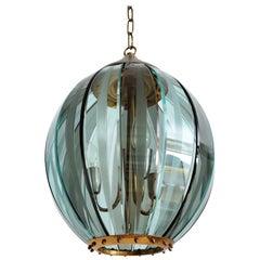 Italian Midcentury Glass and Brass Pendant by 04 Zero Quattro, 1970s