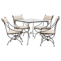 Italian Midcentury Glass and Iron Occassional Table with Four Chairs