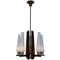 Italian Midcentury Glass, Wood and Bronze Chandelier