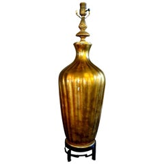 Italian Midcentury Gold Glass Lamp on Iron Base