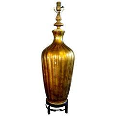 Italian Midcentury Gold Glass Lamp on Iron Base