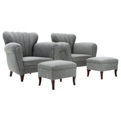 Italian Midcentury Gray Armchair with Pouf, 1950s, Set of 2