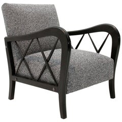 Italian Midcentury Grey Fabric Armchair, 1940s