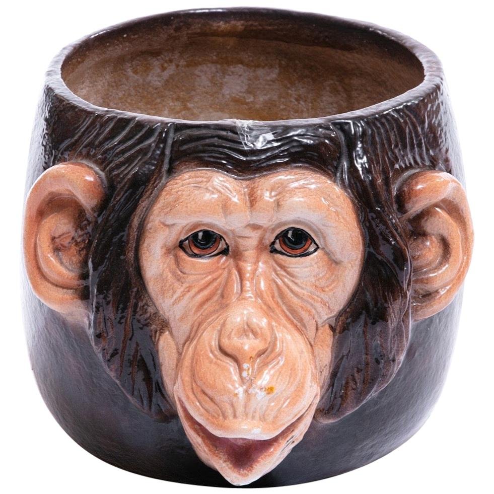 Italian Mid Century Hand Painted Chimpanzee Planter