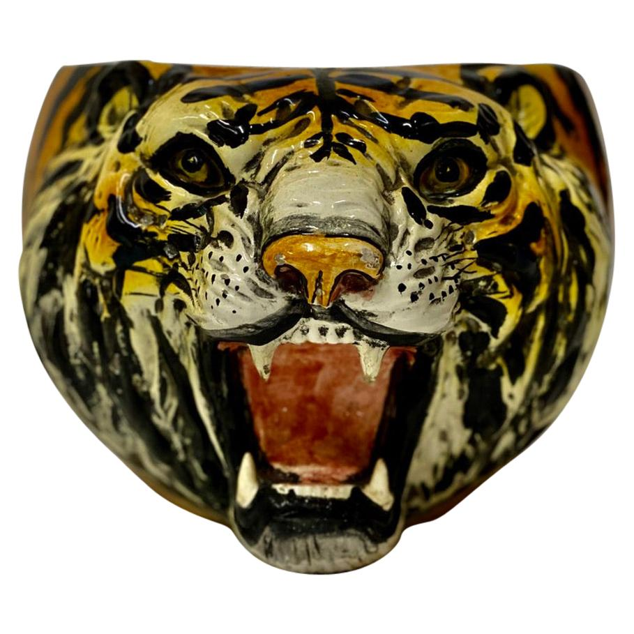 Italian Midcentury Hand Painted Tiger Planter