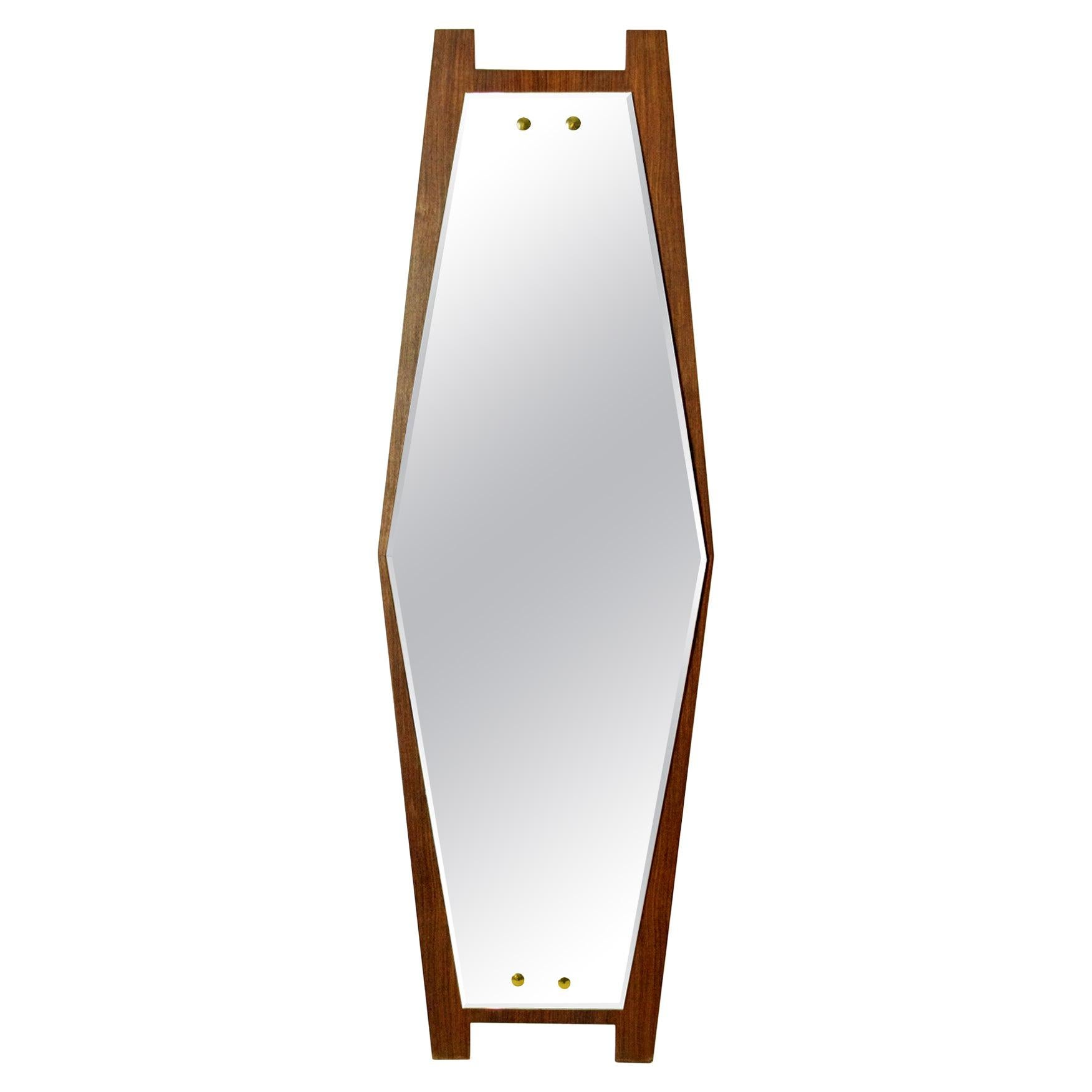 Italian Midcentury Hexagon Mirror