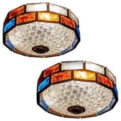Italian Midcentury Iron and Colorful Murano Glass Ceiling Lights or Flush Mounts