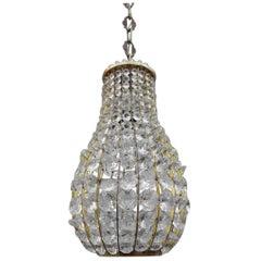 Italian Midcentury Lantern in Crystal and Brass 1950s Pear Shape