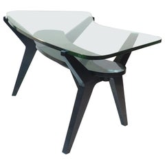 Midcentury Large Coffe Table with Extraordinary Thick Glass by Melchiorre Bega