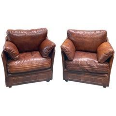 Italian Midcentury Leather Armchairs, 1960s