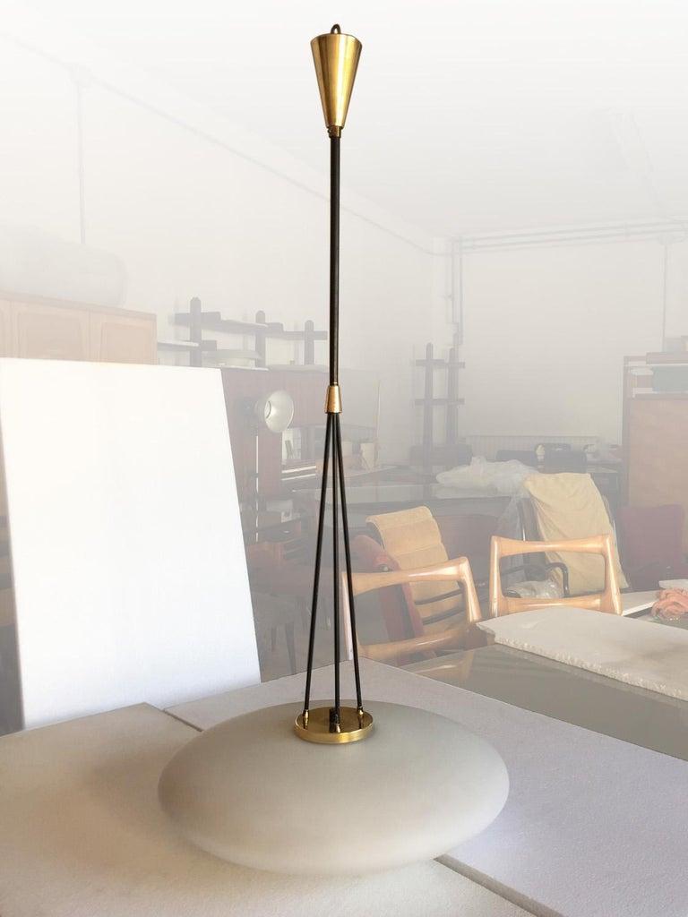Mid-Century Modern Italian Midcentury Light Pendant with Glass Opaline by Stilnovo, 1950s