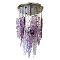 Italian Midcentury Lilac Clear Murano Glass Chandelier by Mazzega, 1970s