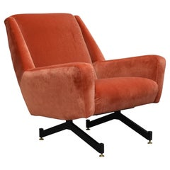 Italian Midcentury Lounge Chair in New Copper Pink Velvet, Italy, 1950s