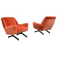 Italian Midcentury Lounge Chairs in New Copper Pink Velvet, 1950s