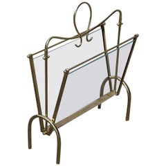 Italian Midcentury Magazine Rack Brass Gold Italian Design Transparent Glass