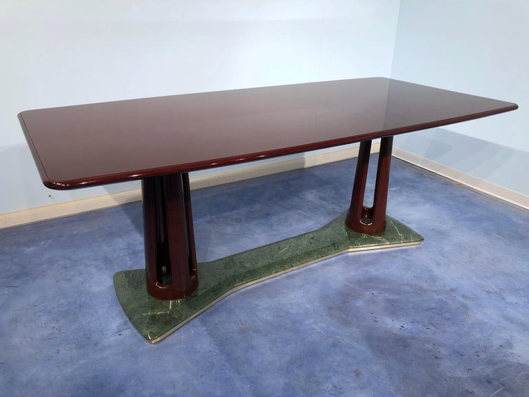 Italian Midcentury Mahogany and Marble Dining Table by Vittorio Dassi For Sale 8