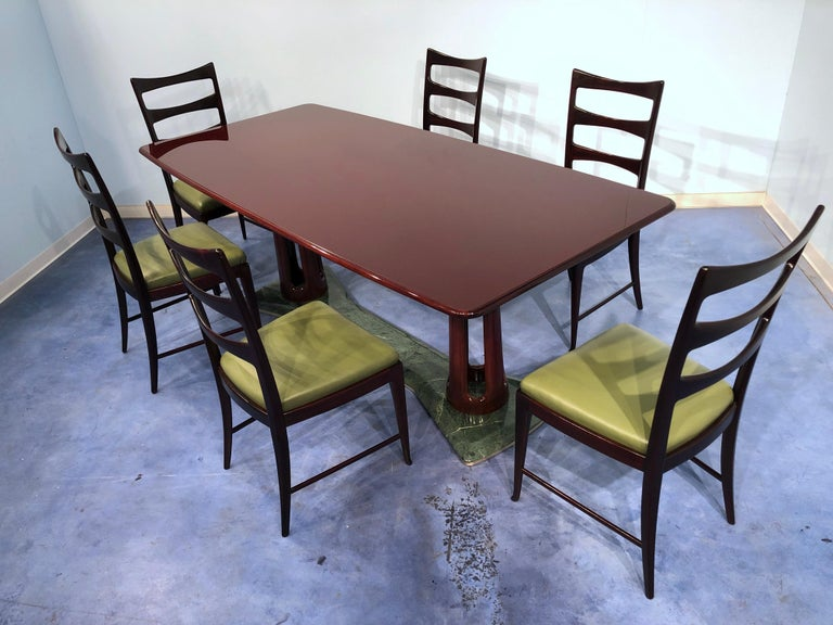 Italian Midcentury Mahogany and Marble Dining Table by Vittorio Dassi For Sale 13