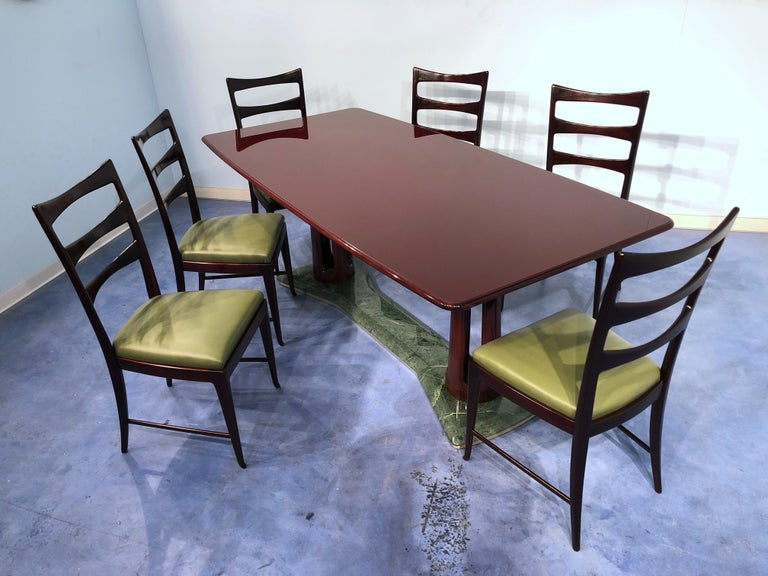Italian Midcentury Mahogany and Marble Dining Table by Vittorio Dassi For Sale 14