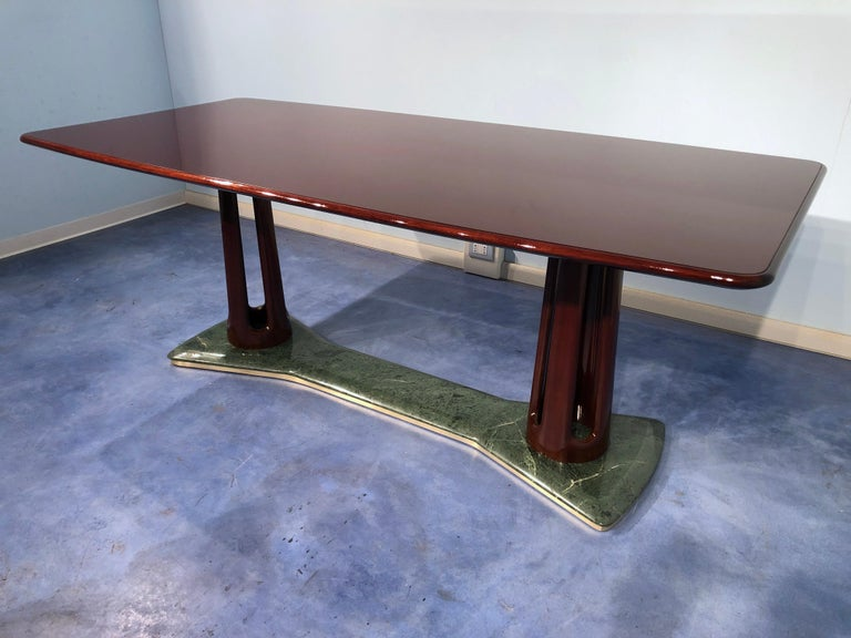 Mid-20th Century Italian Midcentury Mahogany and Marble Dining Table by Vittorio Dassi For Sale