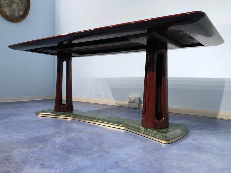Glass Italian Midcentury Mahogany and Marble Dining Table by Vittorio Dassi For Sale