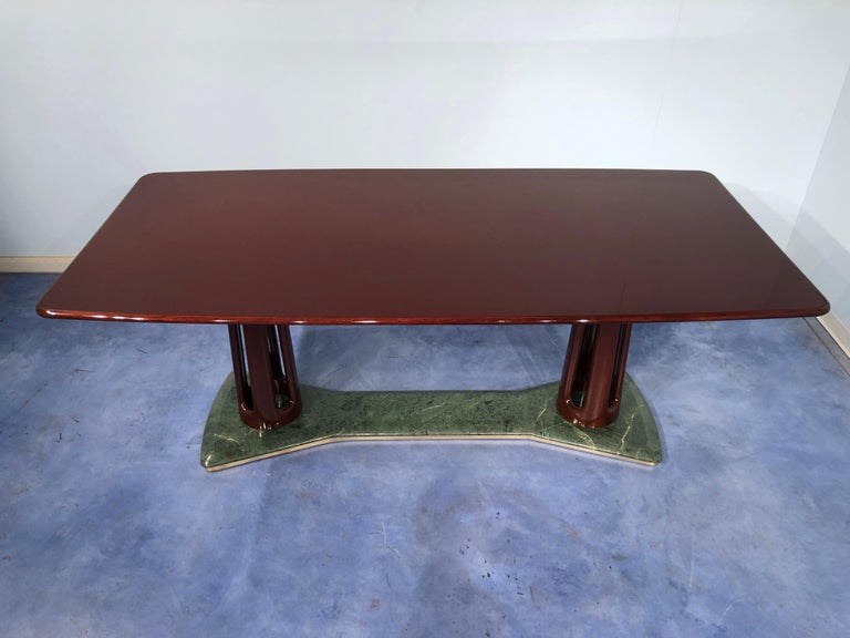 Italian Midcentury Mahogany and Marble Dining Table by Vittorio Dassi For Sale 1