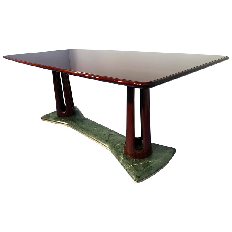 Italian Midcentury Mahogany and Marble Dining Table by Vittorio Dassi For Sale